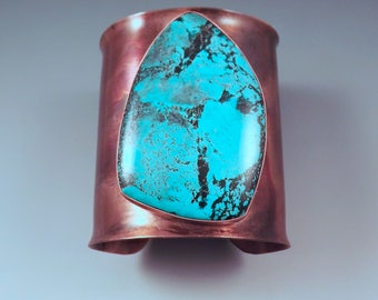 Turquoise Cuff- Tribal- Rustic- Earthy- Boho- Huge Turquoise Copper Cuff- Big Statement Bracelet by RedPaw
