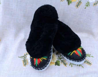 Sheepskin slippers Fur warm SIZE 6 womens slippers leather scuff Women slippers Birthday gift Leather embroidered moccasin Warm moccasins