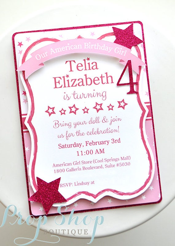 American Girl Birthday Invitation by Prop Shop Boutique Catch My Party
