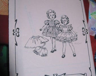 """Vintage SHIRLEY TEMPLE 19"""" Doll Pattern #7123-1 Dress,Pinafore,Petticoat & Panties...Fashions to Fit..Reproduction....Never Used...#158"""