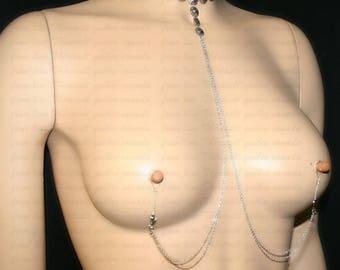 Nipple jewelry with chains - Nipple fake piercing - choker- Non-pierced nipple jewelry with chains (m25 fleur 4)