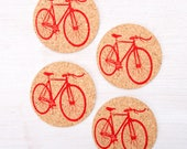 Bike Cork Coasters in Red- Set Of Four - Bicycle Coasters
