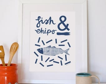Fish and Chips A3 Giclee Print