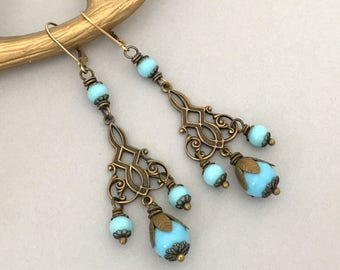 Long Dangle BoHo Earrings - Handmade Turquoise Blue Bohemian Earrings - Dangle Drop Pierced Earrings - Boho Summer Earrings Girlfriend Gift