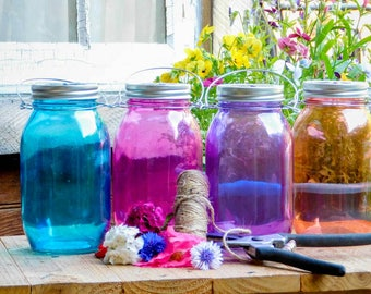 Bohemian Wedding Mason Jar Hanging Lantern Candle Vases Set of Four Turquoise Purple Pink Orange Party Decorations Outdoor Lighting