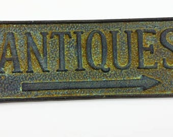 Upcycled Green Antiques Sign or Plaque