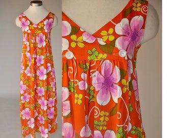 60s Hawaiian dress | vintage orange floral maxi dress | high waist, sleeveless