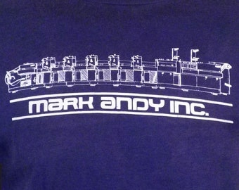 vtg 80s paper thin Mark Andy Inc T-Shirt Narrow Web Press Printing Machine M/L