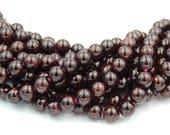Garnet Beads, 4mm, 6mm, 8mm, 10mm, 12mm round beads  -15 inch strand