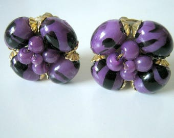 Cluster Earrings, Vintage Purple and Black Clip On Earrings, Made in Hong Kong, For Her, Gift for Her