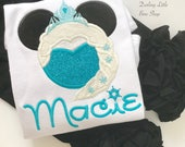 Miss Mouse Elsa shirt, tank or bodysuit for girls -- Frozen shirt in turquoise and blue