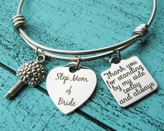 stepmother of the bride gift, Step Mom wedding gift, stepmom bracelet, stepmother gift, step mom bridal gift, thank you for standing by my