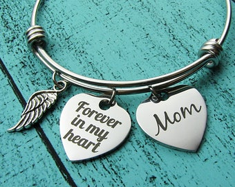 memorial gift mom, remembrance gift bracelet, sympathy gift, loss of mother, in loving memory of mom, forever in my heart, grief gift