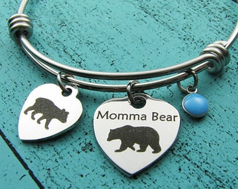 Mama bear baby bear bracelet, gift for Mom, daughter gift, new Mom, birthday gift, baby shower gift, Momma Mommy to be, Mother's Day jewelry