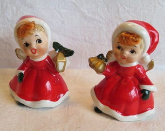 "2 Vintage 1960s Christmas Caroling Girls Red Ceramic 3"" Tall"