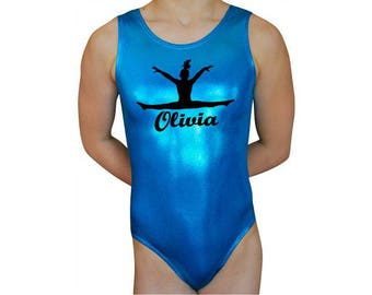 Gymnastics Leotards Personalized  Girls Mystique Leap Leotard Gymnast Dance leotard  Ocean Turquoise Mystique by AEROLeotards