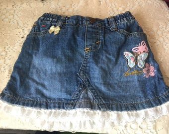 Baby girls jean skirt with lace