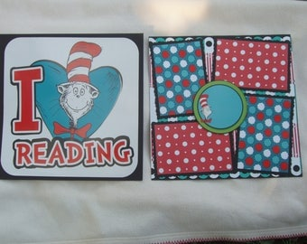 Dr Seuss Inspired Cat in the Hat Horton Green Eggs Ham 12x12 Premade Scrapbook Pages by KARI