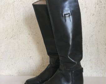 Vintage Black English Riding Boots Tall Equestrian Boots by Colt Cromwell Size 8