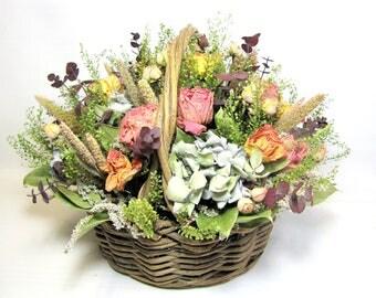 Flower Basket Arrangement, Dried Floral Arrangement, Dried Flowers