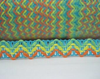 5 yards Turquoise Ribbon, colorful ribbon, wholesale trim, boho ribbon, blue ribbon, blue trim, blue braided, bohemian ribbon, boho trim