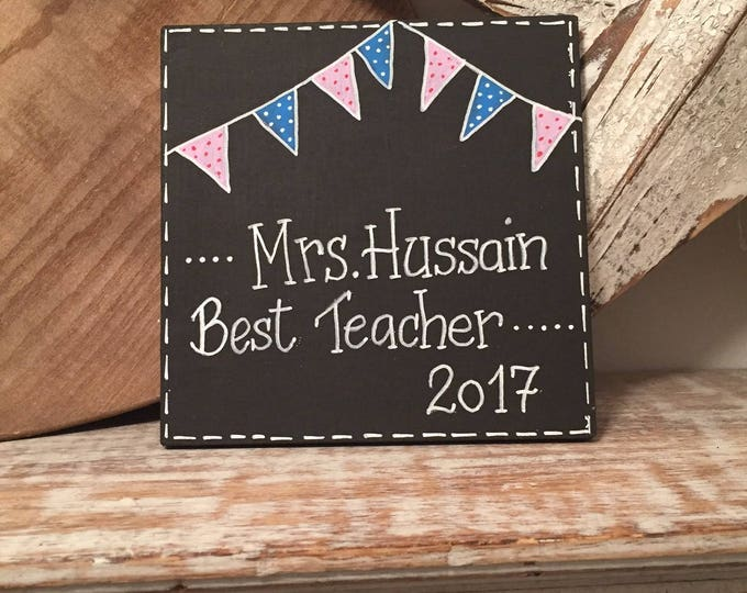 Featured listing image: Fiver Friday, Best Teacher Sign, Wooden Sign, leaving present, wooden teacher, teacher gift, school teacher, teacher present