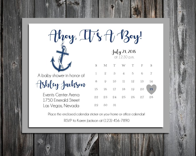 25 Nautical Ahoy It's A Boy Baby Shower Invitations set - Price includes personalization and printing and Free Calendar stickers