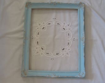 Shabby Chic Baroque Distressed Composite & Wood Frame Up Cycled in Caribbean Sea Blue