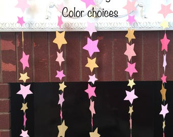 Twinkle Twinkle Little Star Decorations , Star Garlands , Pink & Gold star mobile , Nursery decor , Sprinkle Shower , your color choices
