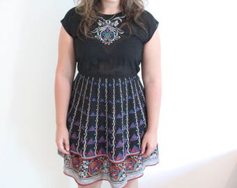 70s Vintage Black Tribal Print Embroidered Mexican Dress