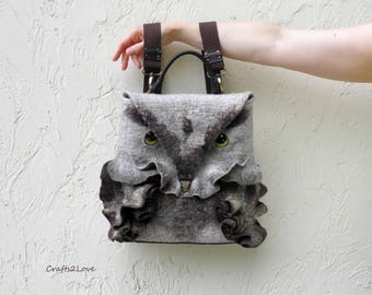 Felted bags, Owl backpack, Felted backpack with leather details, Detachable straps, Felted owl backpack, Back to school, Сrossbody owl bags
