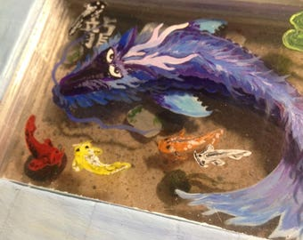 """Dragon Koi original 3d painting """"Tap Some Flakes in and Leave"""""""