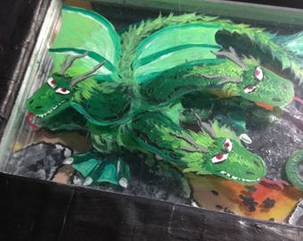 "3-headed Dragon original 3d painting ""Baby Kaiju"""