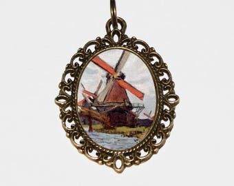 Windmill Necklace, Claude Monet, Fine Art Jewelry, Zaandam, Scenery, Bronze Oval Pendant