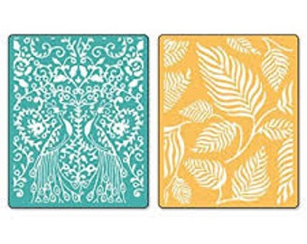 Sizzix Textured Impressions Embossing Folders 2PK - PEACOCKS & LEAVES Set