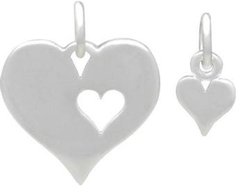 Cut Out Heart Charm Set, Sterling Silver