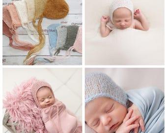 SALE-Newborn hat, 11 colors, Newborn knitted hat, Newborn bonnet, newborn photography prop, newborn prop bonnet