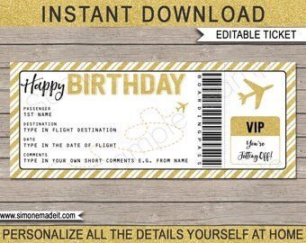 Birthday Gift Plane Ticket - Surprise Trip, Getaway, Holiday - Printable Gold Boarding Pass - Voucher - INSTANT DOWNLOAD - EDITABLE text