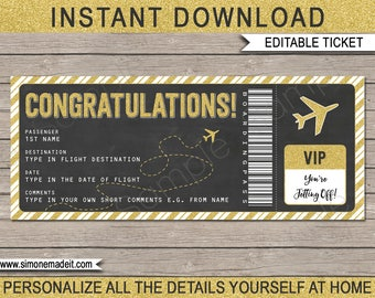 Congratulations Boarding Pass Gift Ticket - Printable Airplane Ticket - Surprise Trip, Flight, Holiday - INSTANT DOWNLOAD with EDITABLE text