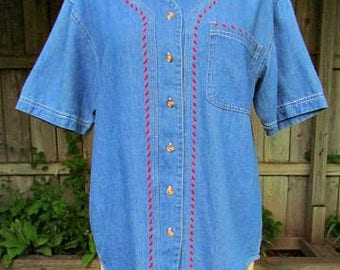 vintage 90s blue denim shirt s/m nos nwt red trim baseball style shirt