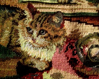 Needlepoint with Kittens, Cats
