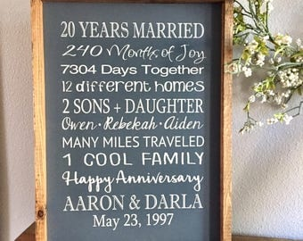 Anniversary Sign - 20 Years Married - Large Wood Sign -  Framed Subway Sign - Farmhouse Sign - Annoversaey Gift - Twenty Year Anniversary