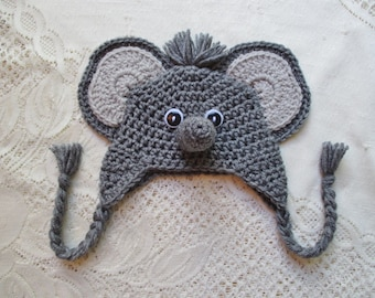 Crochet Baby Elephant Hat - Jungle Animals - Photo Prop - 0 to 24 Month Size - Any Color Combination