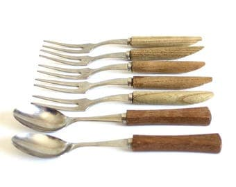 Wood Handle Cocktail Forks Spoons, Stainless Japan, Party Fork Set Hors D'Oeuvres Picks Angled Mid Century Barware