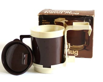 Car Cup Holder / Thermal Travel Mug, 1980s Classic Car Auto Truck Accessory Brown Beige, Retro Coffee, Eagle Plastic