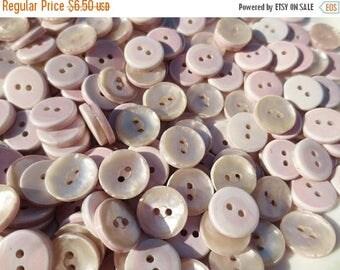 "30% OFF SALE Buttons Pearlized  5/8"" Plastic Dusty Mauve Rose Pink 2 Hole Bulk Lot 100 grams"