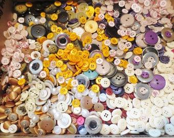 HUGE Buttons Lot Assortment 8 LBs Vintage & Newer Bulk Selection Variety DIY Sewing Supplies