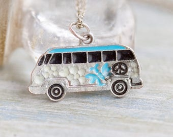 VW Camper Van Necklace - Volkswagen Medallion on Chain
