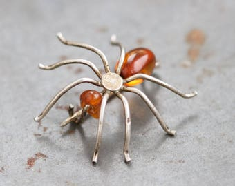 Amber Spider Lapel Pin - Antique Sterling Silver Insect Brooch
