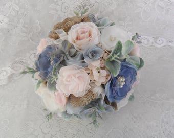 Fabric Bridal Bouquet, Dusty Blue & Blush Bouquet, Rustic Wedding Bouquet,Brooch Bouquet,Wedding Accessory,Vintage Bouquet,YOUR CHOICE COLOR